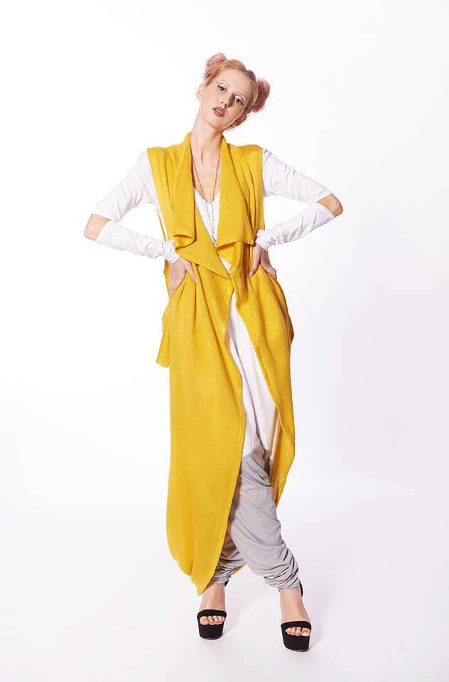 9adf4b56031909 Woolen Maxi Vest In Mustard Colour - ALLSEAMS