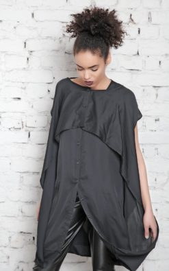 Plus Size Dress / Maxi Caftan / Black Kaftan Dress / Plus Size Tunic / Long Dress / Party Dress / Shirt Dress / Layered Dress/ Goth Style