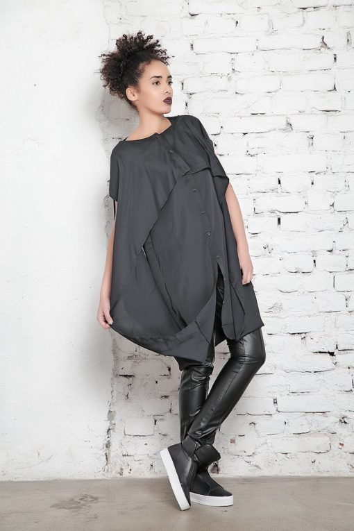 Plus Size Dress / Maxi Caftan / Black Kaftan Dress / Plus Size Tunic / Long Dress / Party Dress / Shirt Dress / Layered Dress/ Goth Style