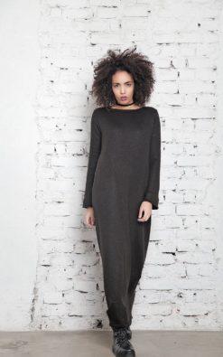 Knitted Dress, Black Plus Size Dress, Black Maxi Dress, Oversized Dress, Black Caftan, Maxi Kaftan, Long Sleeve Dress, Women Long Dress