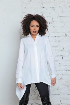 Women Blouse, White Tunic, Plus Size Top, White Shirt, Bohemian Top, Elegant Top, Formal Blouse, Asymmetric Top, Collar Blouse, Long Tunic