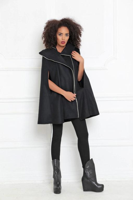 Womens Cape Coat/ Black Poncho Cape/ Plus Size Goth Coat/ Winter Cape Coat/ Wool Cape Coat/ Cape Jacket/ Womens Outerwear/ Steampunk Coat