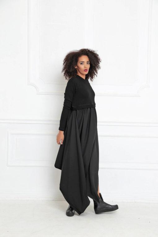 Black Maxi Dress, Asymmetrical Dress, Plus Size Maxi Dress, Black Casual Dress, Maxi Dress, Women Dress, Black Dress, Long Sleeved Dress