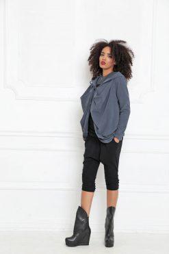 Boho Sweatshirt, Futuristic Clothing, Plus Size Hoodie, Women Hooded Top, Extravagant Top, Asymmetric Sweatshirt, Hooded Hoodie, A-3005