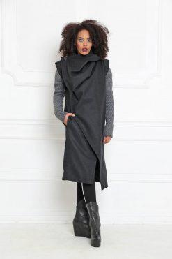 Wrap Coat, Avant Garde Coat, Futuristic Clothing, Women Black Coat, Asymmetric Jacket, Sleeveless Coat, Maxi Jacket, Wool Coat A-3009
