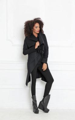 Plus Size Clothing/ Cashmere Coat/ Winter Coat/ Asymmetric Coat/ Wool Coat / Black Coat/ Black Winter Coat/ Black Jacket/ Warm Jacket/Winter