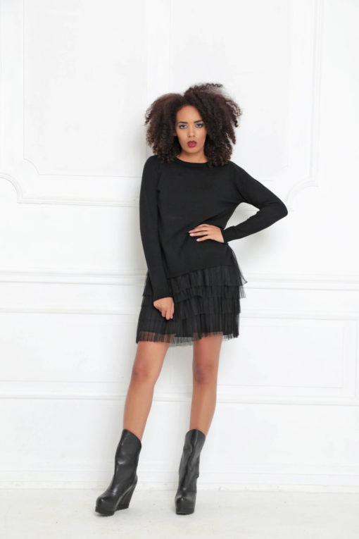 Black Dress, Tulle Dress, Women Short Dress, Tunic Dress, Loose Knit Dress, Long Dress, Gothic Clothing, Steampunk Dress, A-3017