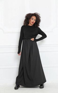 Women Maxi Dress, Abaya Dress, Winter Maxi Dress, Long Sleeve Maxi Dress, Funky Dress, Steampunk Clothing, Long Black Dress,High Waist Dress