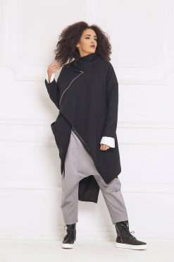 Black Cardigan Coat, Plus Size Clothing, Asymmetric Cardigan, Wool Coat, Women Cardigan, Cashmere Coat, Loose Cardigan, Oversized Coat,A3061