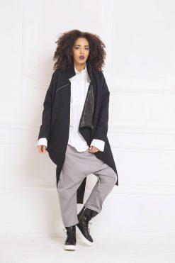 Black Cardigan Coat, Plus Size Clothing, Asymmetric Cardigan, Wool Coat, Women Cardigan, Cashmere Coat, Loose Cardigan, Oversized Coat,A3061