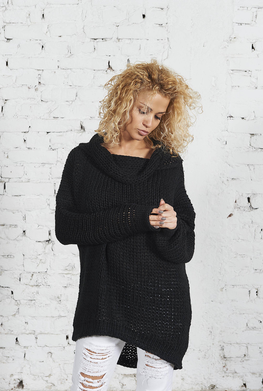 Oversized Merino Sweater In Black Allseams