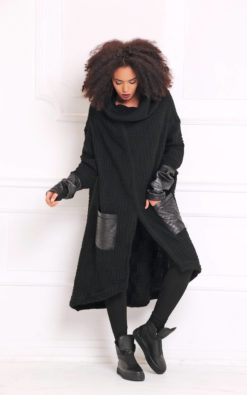 Black Cardigan, Plus Size Clothing, Gothic Clothing, Oversized Coat, Women Poncho, Maxi Cardigan, Goth Women Cardigan, Loose Knit Cardigan