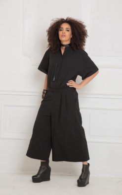 Black Jumpsuit,  Minimalist Clothing, Women Romper, Black Overall, Japanese Clothing, Plus Size Harem Pants, Gothic Clothing, Maxi Jumpsuit,