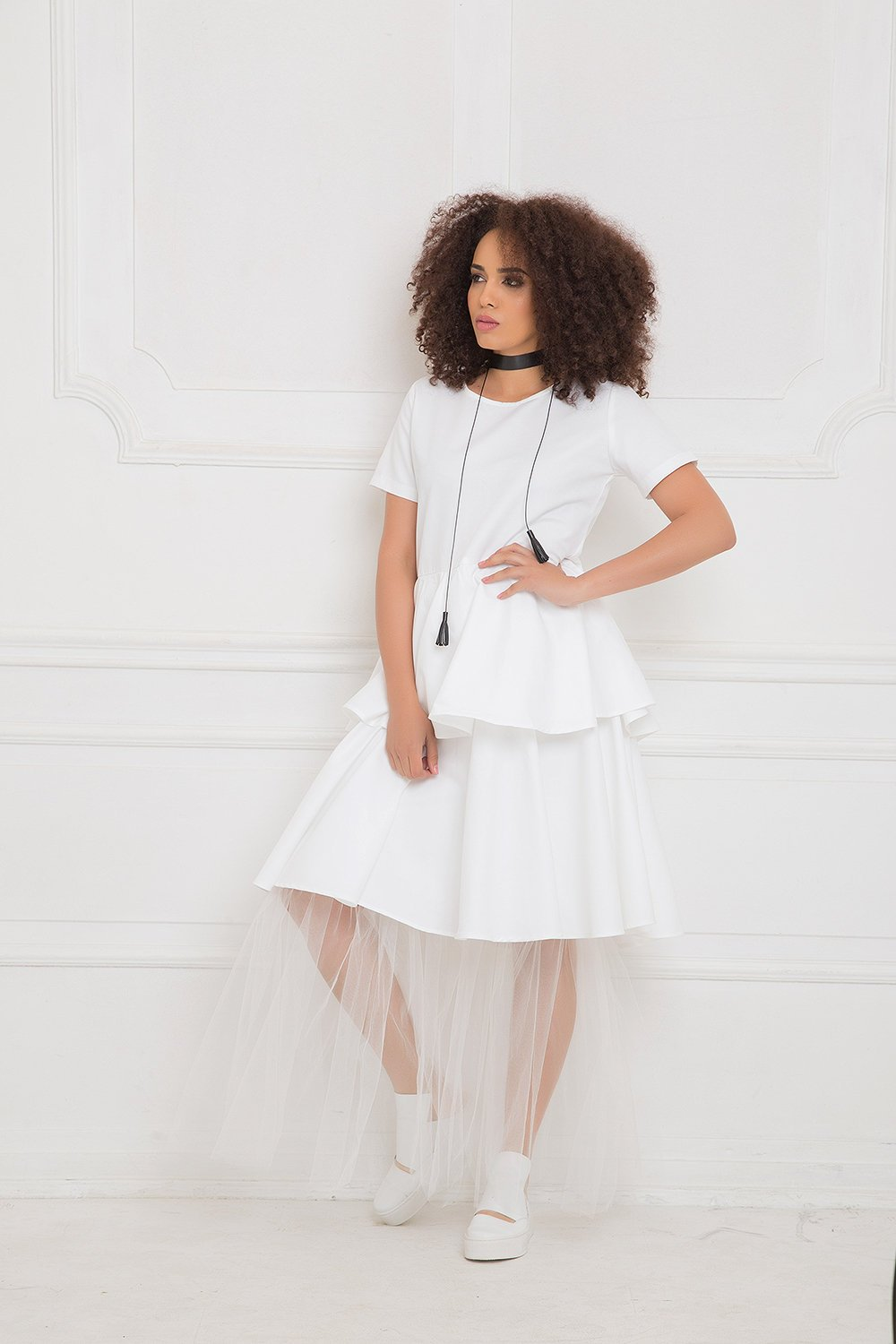 White Dress With Tulle Detail