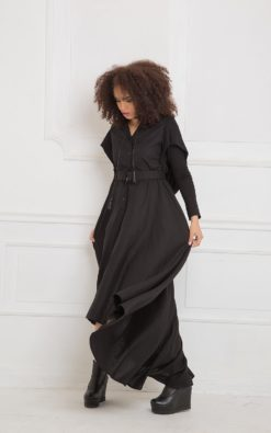 Black Maxi Dress, Linen Dress, Linen Clothing, Hooded Dress, Black Long Dress, Plus Size Maxi Dress, Linen Maxi Dress, Gothic Clothing