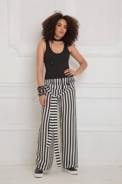 Women Pants, Wide Leg Pants, Stripes Pants, Black And White Pants, Maxi Pants, Long Pants, Fashion Pants, Plus Size Pants, Party Pants