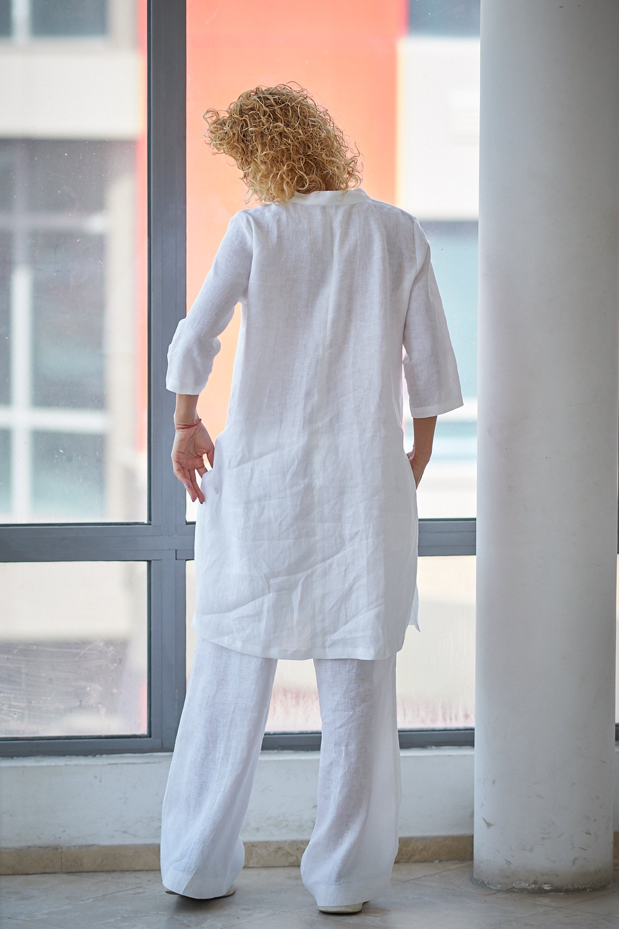 6d72cb97b2 Linen Tunic Top With Slits - ALLSEAMS