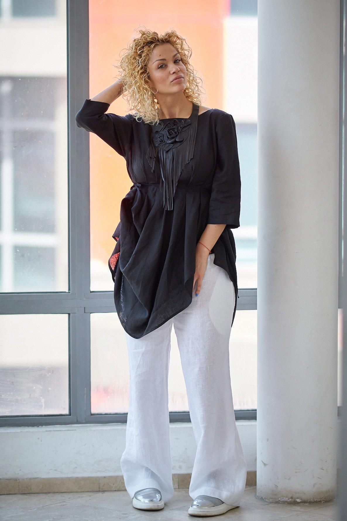 439571154c Linen Tunic, Black Linen Top, Summer Linen Tunic, Gothic Clothing, Beach  Linen