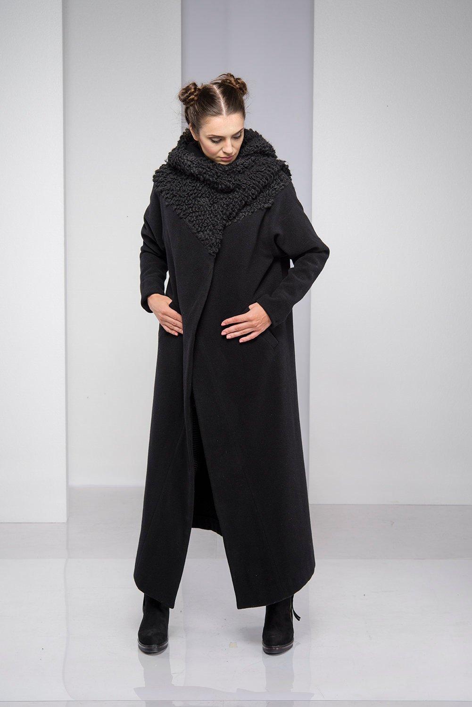 1b30e99687e27 Cashmere Coat With Oversized Cowl
