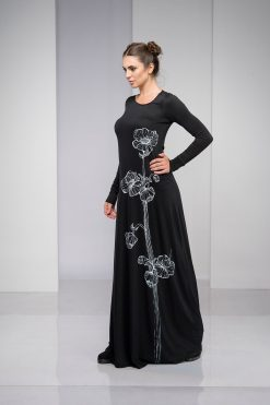 Black Dress, Maxi Dress, Plus Size Clothing, Kaftan Dress, Plus Size Maxi Dress, Hand Painted Dress, Japanese Clothing, Dress For Women