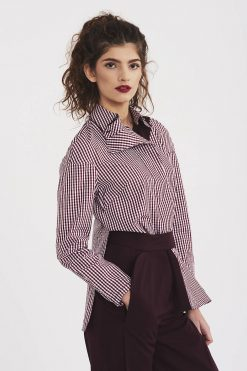 Women Shirt, Asymmetric Top, Minimalist Clothing, Office Shirt, Casual Shirt, Elegant Shirt, Collar Top, Cotton Shirt, Plus Size Clothing