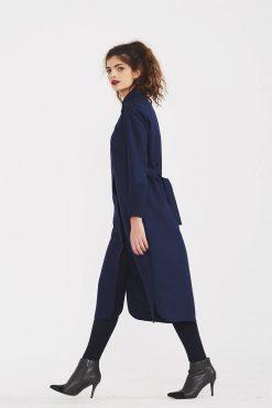 Women Dress, Shirt Dress, Midi Dress, Dark Blue Dress, Shift Dress, Minimalist Dress, Plus Size Dress, Silk Dress, Long Sleeve Dress,