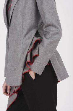 Asymmetric Coat, Winter Coat, Wool Clothing, Gray Coat, Office Coat, Suit Coat, Long Sleeve Coat, Elegant Coat, Plus Size Clothing