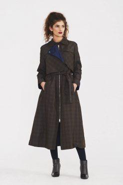 Women Trench Coat, Plaid Clothing, Asymmetric Coat, Elegant Coat, Plus Size Clothing, Trendy Coat, Winter Coat, Oversized Coat