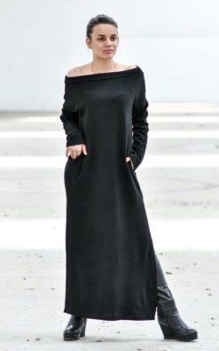 Black Dress, Wool Dress, Maxi Dress, Tunic Dress, Winter Clothing, Plus Size Maxi Dress, Black Maxi Dress, Wool Maxi Dress, Slit Dress