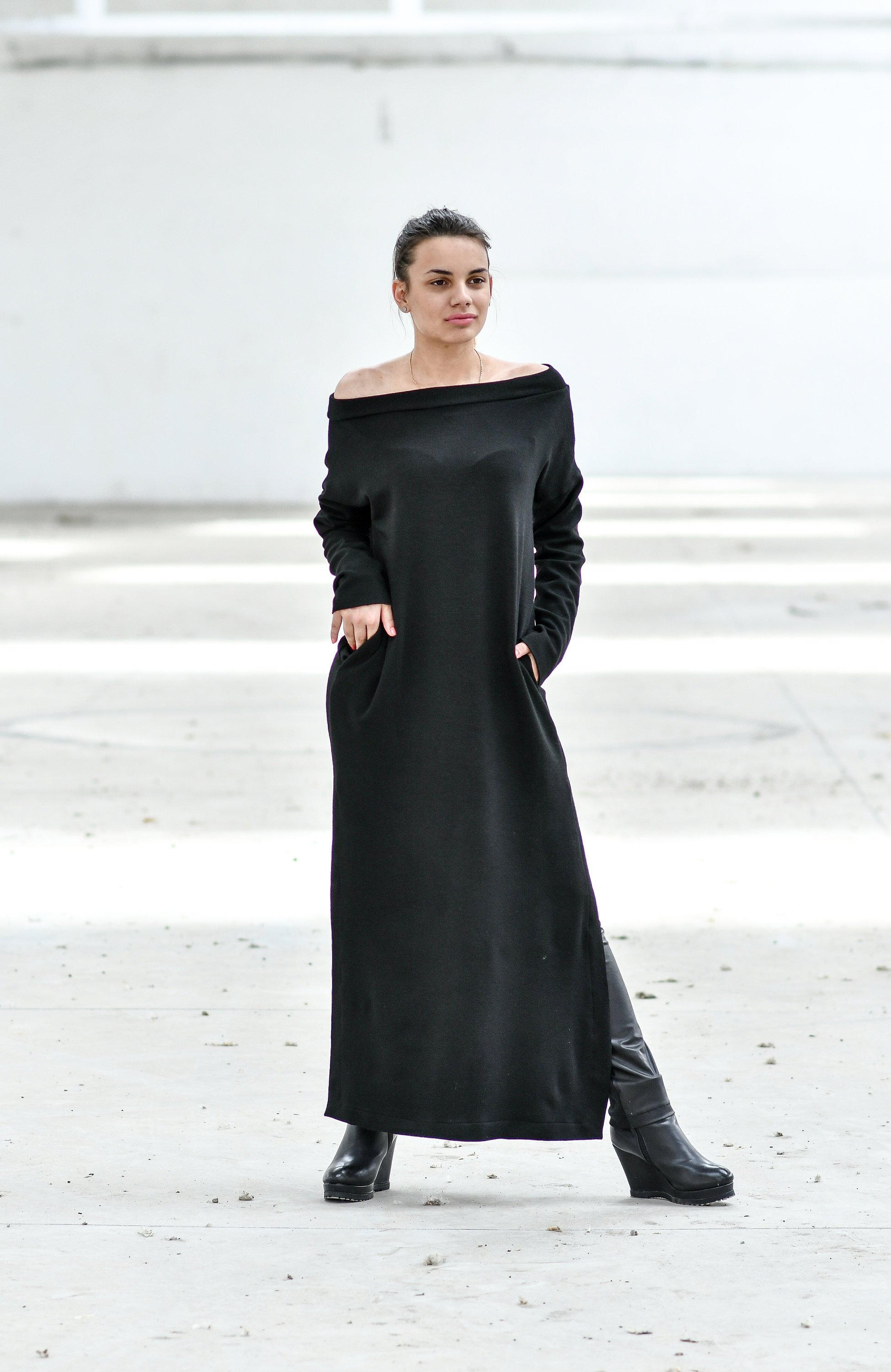 Maxi Dress With Boat Neckline