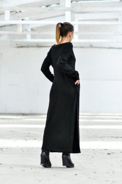 Black Dress, Wool Dress, Maxi Dress, Tunic Dress, Winter Clothing, Plus Size Maxi Dress, Black Maxi Dress, Wool Maxi Dress, Slit Dress
