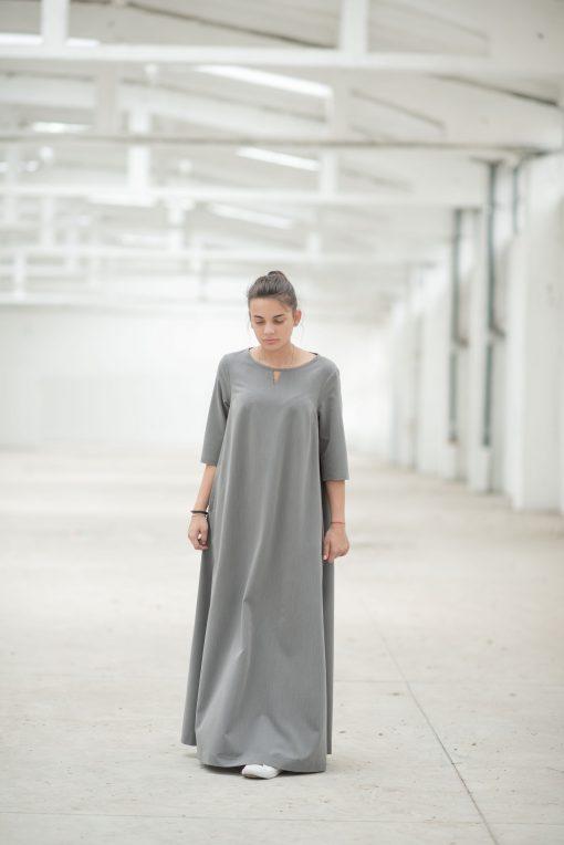Maxi Dress, Gray Dress, Plus Size Maxi Dress, Plus Size Clothing, Women Kaftan Dress, Abaya Dress, Caftan Dress, Floor Length Dress
