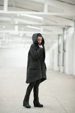 Winter Coat, Wool Coat, Coat For Women, Hooded Coat, Winter Clothing, Plus Size Coat, Wool Clothing, Warm Coat, Gray Coat, Long Sleeve Coat