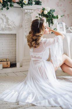 See Through Dress, White Boudoir Dress, Lace Robe, Honeymoon Lingerie, Silk Robe, Lingerie Dress, Transparent Lingerie, Sheer Lingerie