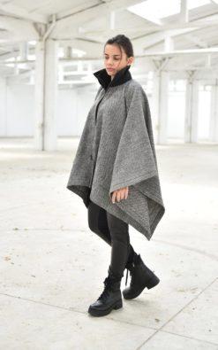 Winter Cardigan, Women Poncho Cape, Wool Cardigan, Warm Cardigan, Plus Size Clothing, Gray Cardigan, Cape Cardigan, Poncho Cardigan, Long