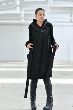 Winter Coat, Women Coat, Black Jacket, Hooded Coat, Black Hoodie, Winter Clothing, Women Cardigan, Wool Coat, Warm Coat, Winter Jacket