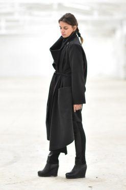 Winter Coat, Cashmere Coat, Plus Size Clothing, Black Coat, Plus Size Coat, Long Warm Coat, Coat For Women, Gothic Clothing, Asymmetric Coat