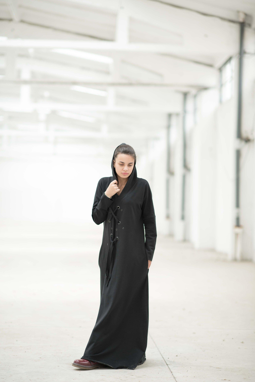 Hooded Maxi Dress In Black - ALLSEAMS