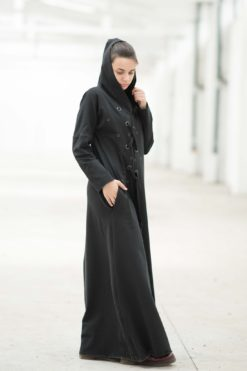 Maxi Dress, Black Maxi Dress, Hooded Dress, Plus Size Maxi Dress, Plus Size Clothing, Floor Length Dress, Hoodie Dress, Gothic Clothing