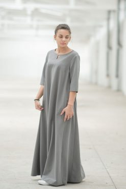 Maxi Dress, Gray Dress, Plus Size Maxi Dress, Plus Size Clothing, Women Kaftan Dress, Abaya Dress, Caftan Dress, Floor Length Dress
