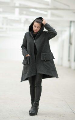 Winter Coat, Wool Coat, Coat For Women, Hooded Coat, Winter Clothing, Plus Size Coat, Wool Clothing, Warm Coat, Gray Coat, Long Sleeve Coat