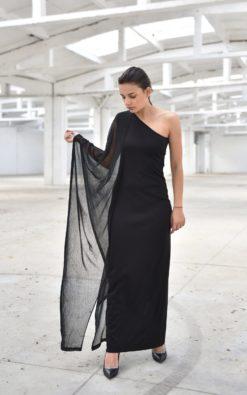 Black Maxi Dress, Plus Size Maxi Dress, Gothic Clothing, One Shoulder Dress, Evening Dress, Plus Size Clothing, Black Cocktail Dress