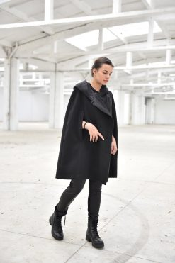 Women Poncho Cape, Black Cloak, Winter Coat Cape, Hooded Coat, Cashmere Coat, Women Cape, Black Coat, Plus Size Clothing, Oversized Coat