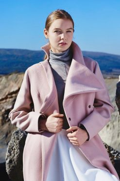 Cashmere Coat, Wool Coat, Winter Coat, Futuristic Clothing, Women Coat, Pink Coat, Wrap Coat, Avant Garde Clothing, Plus Size Jacket