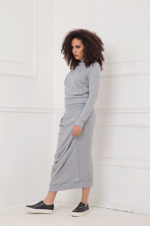 Skirt For Women, Gray Skirt, Midi Skirt, Drape Skirt, High Waist Skirt, Tube Skirt, Minimalist Skirt, Plus Size Clothing, Oversized Skirt