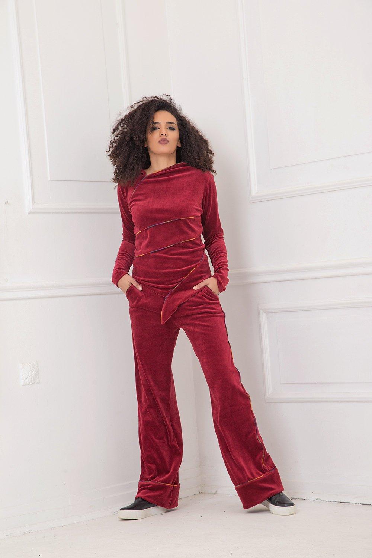 Velvet Blouse, Velvet Top, Velvet Clothing, Plus Size Blouse, Elegant Blouse, Oversized Blouse, Red Blouse, Plus Size Clothing, Velvet