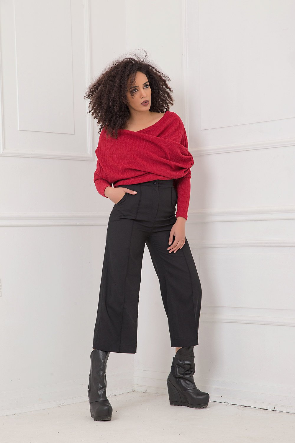 Black Pants, Wool Pants, Plus Size Clothing, High Waist Pants, Black Capri Pants, Wide Leg Pants, Straight Pants, Elegant Black Pants