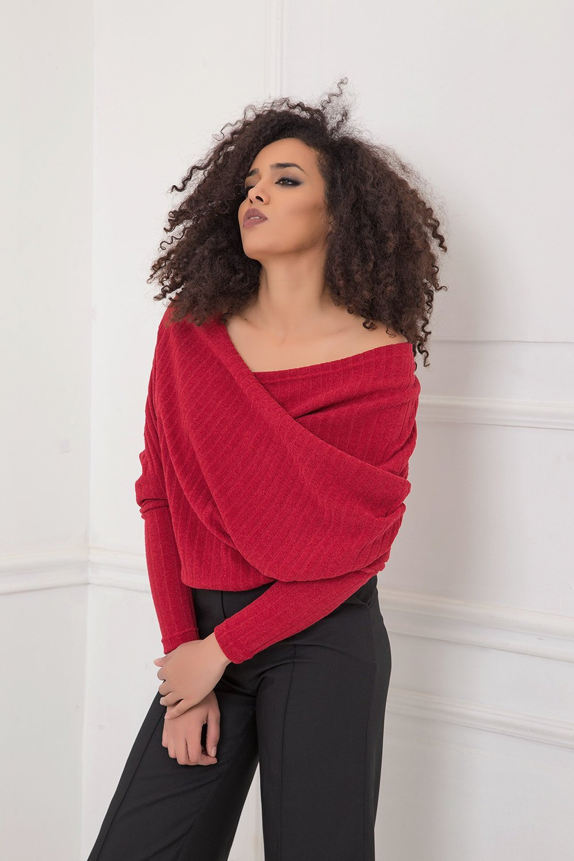 Red Blouse, Velvet Blouse, Plus Size Blouse, Extravagant Blouse, Plus Size Clothing, Blouse For Women, Long Sleeve Blouse, Elegant Blouse