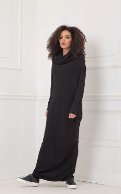Maxi Dress, Black Dress, Plus Size Clothing, Cowl Neck Dress, Gothic Clothing, Plus Size Maxi Dress, Long Sleeve Dress, Shift Dress, Knitted