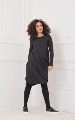 Dress For Women, Black Dress, Wool Dress, Plus Size Clothing, Long Sleeve Dress, Black Extravagant Dress, Oversized Dress, Layered Dress